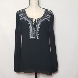 WHBM cold shoulder embroidered black top